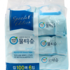 깨끗한나라 물티슈100매6입(캡형)